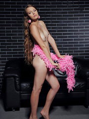 Milana is an alluring beauty with daring   personality, and enviable figure with smooth and   puffy bits, posing sensually all over the sofa. - Pics