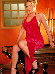 Diane Kellar - Playing pool in red hot dress