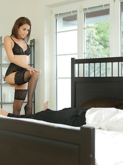 Lusty Antonia Sanchez dresses in lingerie and ties her man down for a lusty blowjob and a horny bondage stiffie ride