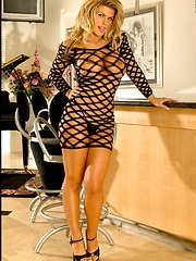 Blonde Secretary in Fishnet Clubwear