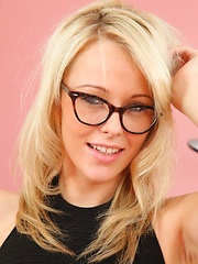 Sexy blonde Lacey in specs and pantyhose - Pics