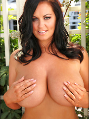 The illustrious big tits of <b>32HH Sarah Nicola Randall</b> are back again with us today and the good news is that Sarah brought not only her big perfect boobs, but also some sexy red polkadots too, and boy did she ever wear it all well!