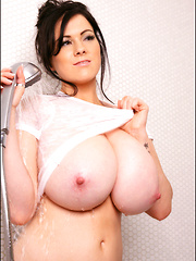 Happy Monday! I have more very cool new photos of up today of me in the shower with my big boobs all wet! It's always nice to have a removable shower head like this one so I can really get myself doused properly. Hope you like them! xoxoxo - Rachel