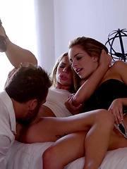Kimmy Granger and Sydney Cole distract their lover with a double blowjob and a passionate threesome fuck fest - Pics