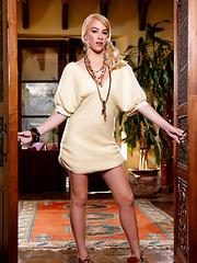 Penelope Lynn strips from her elegant dress and fucks herself